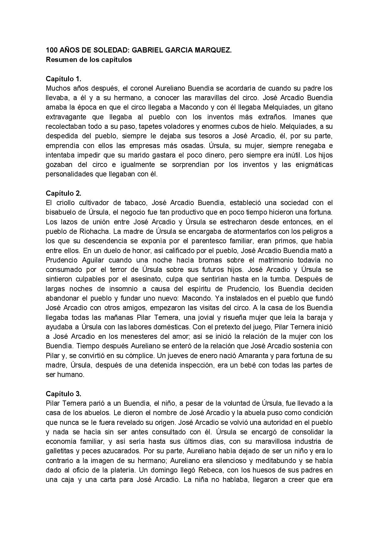 Resumen Completo Del Libro 100 Anos De Soledad